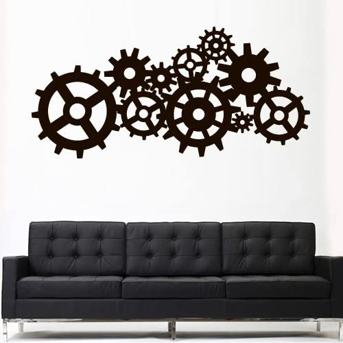 Wall Decal Wall Art Vinyl Sticker Decor Gift Sticker Steam punk Gears and Cogs Geometric Machine