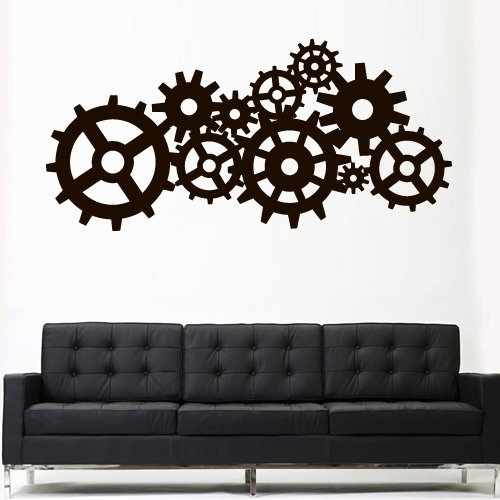 amazoncom wall decal vinyl sticker decals art decor design steampunk gears and cogs geometric machine circles mechanism bedroom dorm z3163 by - Wall Decals Designs