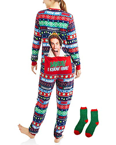 Elf Buddy The Women's Ugly Christmas Sweater Fleece Pajama with Drop Seat Union Suit Sleepwear w/Matching Sock Gift Set (Green Red Toe, XXL 18W-20W)