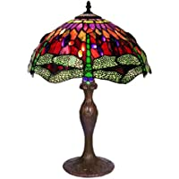 Tiffany Style Dragonfly Table Lamp, Red and Blue 27-Inch