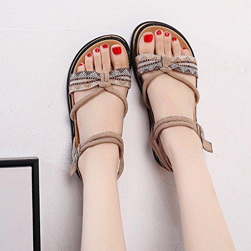 YMFIE black Toe Mujer Toe Verano Plano Confortable Bohemia Sandalias de Sandalias Moda Fondo rXrq7T