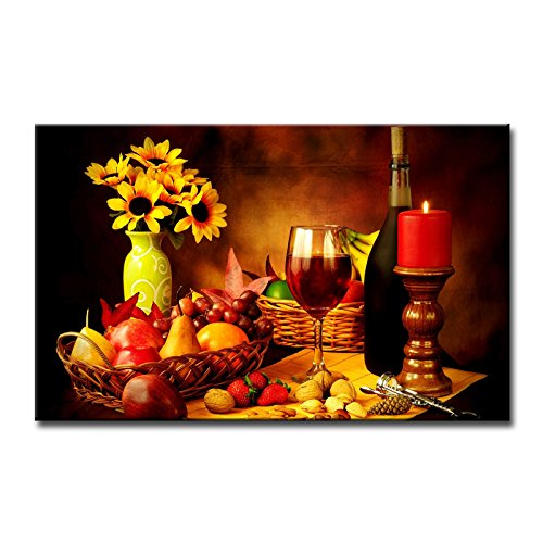 Family Room Kitchen - Fresh Look Color Wall Art Painting Red Wine In Goblet Nuts Strawberry Corkscrew Yellow Flowers Pictures Prints On Canvas Food The Picture Decor Oil For Home Modern Decoration Print