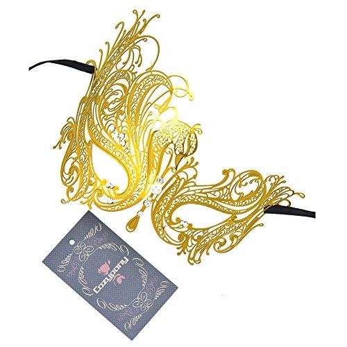 [Masquerade Masks,Cozypony Metal Laser Cut Elegant Princess Peocock with Rhinestones Venetian Mask for Dance Performance Party, Mardi Gras or Prom Masks (One Size,] (The Shining Couple Costume)