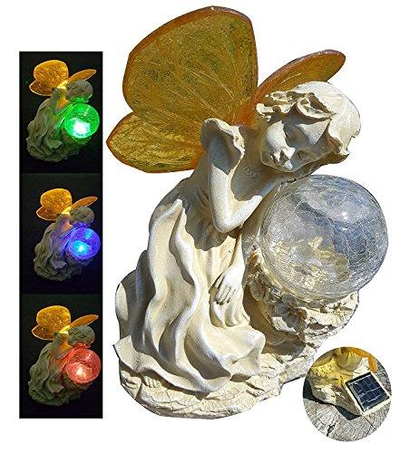 Sleeping Little Fairy Lying On LED Color Changing Crackle Glass Ball Solar Light with Bonus 1 Microfiber Cloth