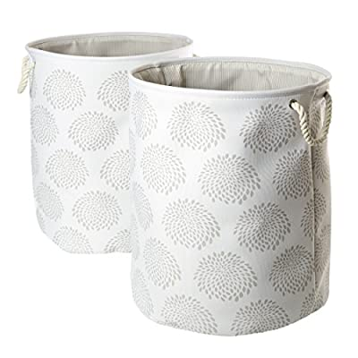 Seville Classics Large Round Collapsible Fabric Laundry Hamper 2-Piece Set, Moroccan Lattice Print, Morroccan Lattice - Dimensions: 18W x 18L x 23H each; spot clean with damp cloth Includes 2 soft-sided collapsible laundry Hampers in a midnight blue and White Moroccan lattice print Wire reinforced rim keeps the 18-inch top open; rigid and durable fabric keeps the bag standing upright even when empty - laundry-room, hampers-baskets, entryway-laundry-room - 51965f8t7ML. SS400  -