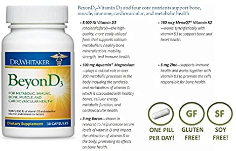 Amazon.com: Dr. Whitakers BeyonD3 - Vitamin D Supplement with Boron, Vitamin K2, Magnesium & Zinc - Supports Immune Health, Calcium Metabolism & Bone ...
