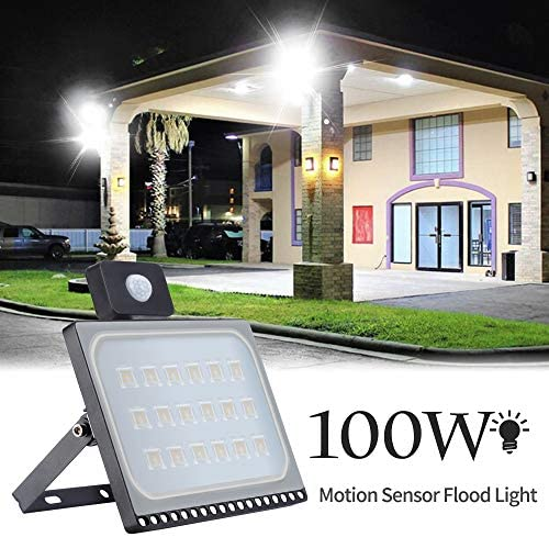 100W Motion Sensor Flood Light, Catinbow Ultra Thin LED Security Light with 10000LM 6000-6500K Daylight White, Waterproof IP67 Security Light Motion for Garage Yard Patio Pathway Porch Road Square