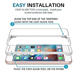 [3 Pack] L K Screen Protector for iPhone 6 Plus/iPhone 6S Plus, [Easy Installation Tray] Tempered-Glass 9H Hardness, Case Friendly
