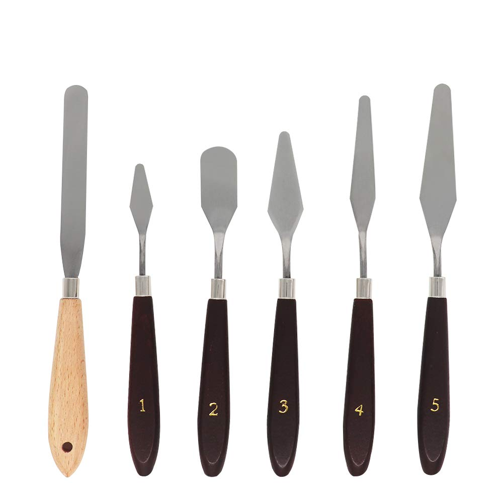3D Print Removal Tools with Natural Sturdy Wooden Handle, Tool Kit for 3D Printer Spatula Palette Knife, 6 Pack VTurboWay