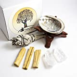 Beverly Oaks Meditation Ritual Kit - 2 Clear Quartz Crystals, Palo Santo Sticks, California White Sage Stick, Abalone Shell, Cobra Stand - Healing Crystals for Rituals