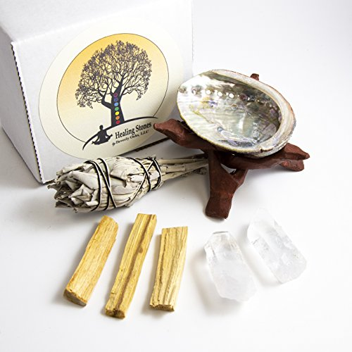 Beverly Oaks Meditation Ritual Kit - 2 Clear Quartz Crystals, Palo Santo Sticks, California White Sage Stick, Abalone Shell, Cobra Stand - Healing Crystals for Rituals by Beverly Oaks