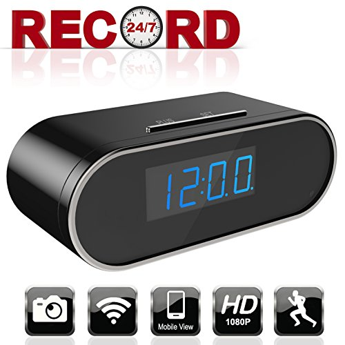 Aurola WiFi 1080P Hidden Camera Clock, Spy Camera, Nanny Camera with with Motion Detection Loop Recording for Home and Office Security Surveillance