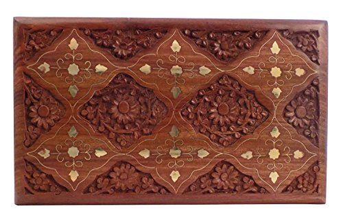 Wooden Jewelry box With Carving inlay Design For Women Jewelry Organizer Storage Vintage Jewelry Box (10 X 6 inch)