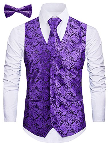 - WANNEW Mens Vest Suit Vests Tuxedo Vest Vest for Men(S, Purple 2#)