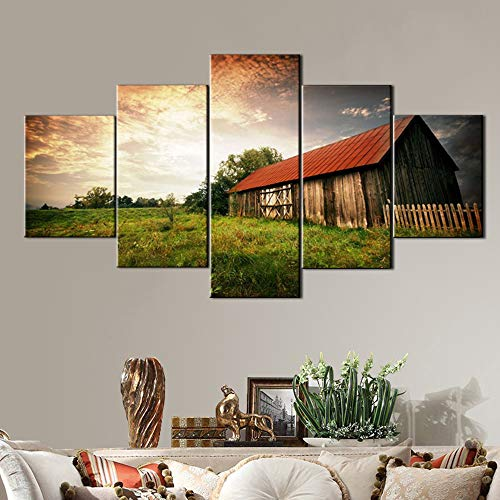 (Cabin Decor Country Pictures Wall Decor Wooden Bar Painting on Canvas Landscape Artwork Home Decor for Living Room 5 Panel Art Posters and Prints Framed Gallery-Wrapped Ready to Hang(60''Wx32''H))