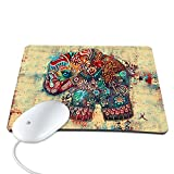 Mouse Pad,8.6 x 7 inches / 220 x 180 mm Fashion Colorful Retro Elephant Design Waterproof Neoprene Soft Mouse Pad
