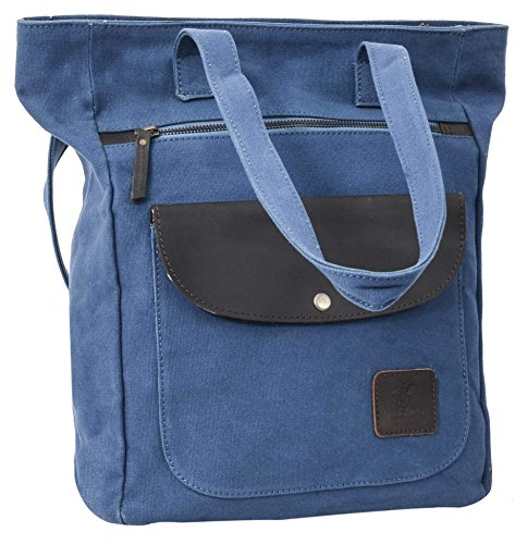 'gusti Leder Studio Carroun Aria - Shopper Bag With Backpack Function Handbag Leisure - Buffalo Leather Bag - Backpack Bag Blue Canvas Womens 2h65 - 26 - 58