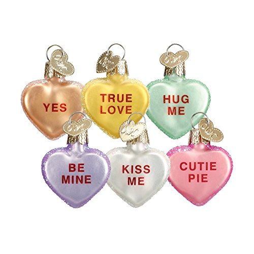 Old World Christmas Ornaments: Conversation Heart Glass Blown Ornaments for Christmas Tree -