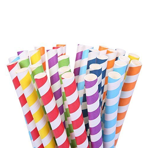 """105 Count 7 7/8""""Jumbo Paper Straws of Assorted Rainbow Colors (Diameter-10mm ) for Wedding Birthday Party Events and (Halloween Inspired Alcoholic Drinks)"""