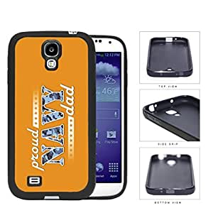 Proud Navy Dad with Blue Camo Letters with Orange Background Samsung Galaxy S4 I9500 Rubber Silicone PC Cell Phone Case