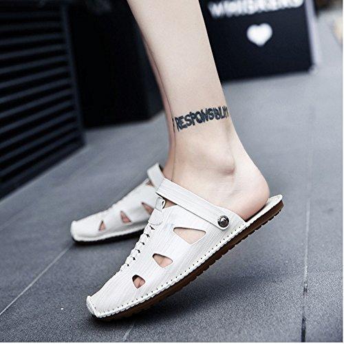 la sandali adatti EU coperto Color libero antiscivolo all'aperto il White Sandali uomo tempo spiaggia al in 3 pelle Brown per per e Size traspiranti 2 regolabili da 42 sandali U7xqvxwpY