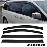 DOBI 4Pieces Front and Rear Smoke Sun/Rain Guard Window Shade Visors For 08-13 Chrysler Town & Country Dodge Grand Caravan