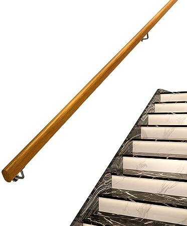 Kit De Pasamanos, Antideslizante De La Escalera De Madera Sólida Con Pasamanos De Acero Inoxidable De Montaje En Pared Admite, Interior Y Exterior Loft Ancianos Pasamanos Pasamanos Corredor De Apoyo D: Amazon.es: