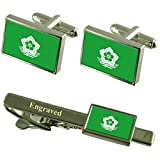 Harbin City South Africa Flag Cufflinks Engraved Tie Clip Set