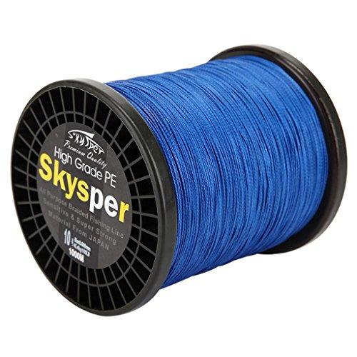 Skysper® 1000m 100% PE Braided fishing line 10lb,0.128mm Blue