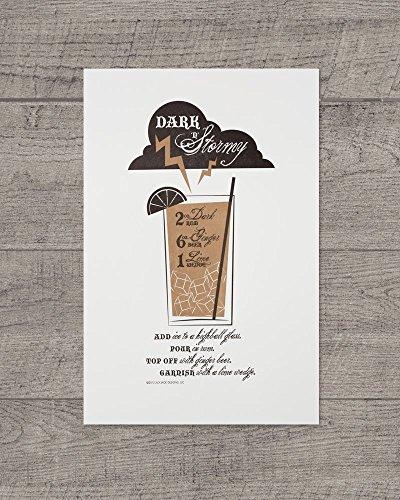 Dark 'N' Stormy Recipe Letterpress Art Print JJD-LP-DSP - Black Rum Recipes