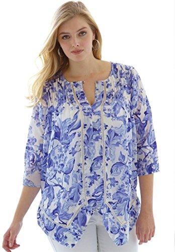 Jessica London Women's Plus Size Pintuck Blouse – 22 Plus, French Blue Floral