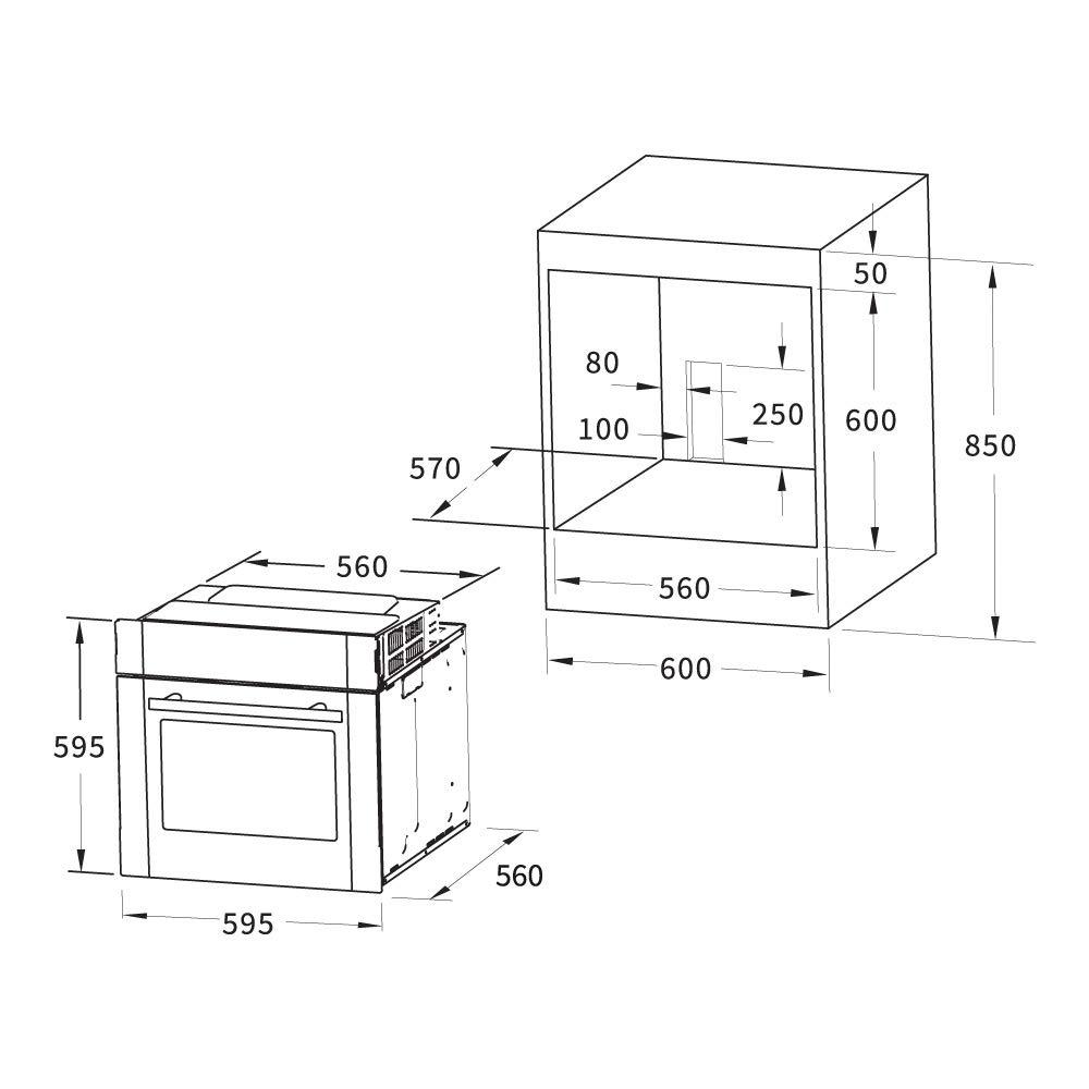 Forno elettrico da incasso EB8005ED KKT KOLBE 60cm, 70 l, 3,3kW, aria calda, sistema grill//roast, sistema di pulizia, EEK A