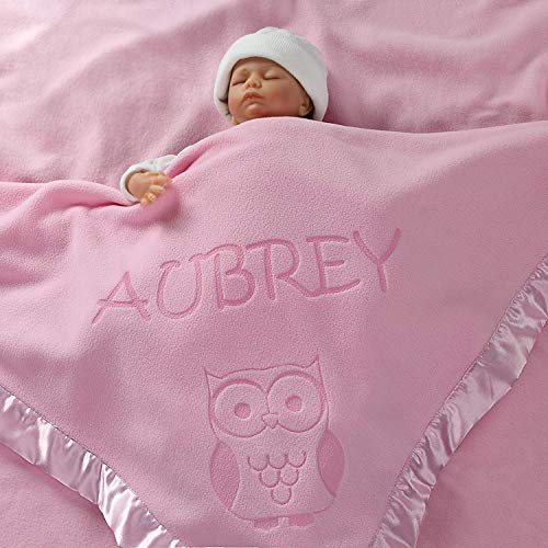 Custom Catch Personalized Owl Baby Blanket Gift for Boy – Infant or Newborn Name (1 Line of Text)