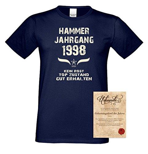 Geburtstagsgeschenk T-Shirt Geschenkidee zum 19. Geburtstag Herren Männer Hammer Jahrgang 1998 Geburtsjahr Übergrößen Farbe: navy-blau Gr: L