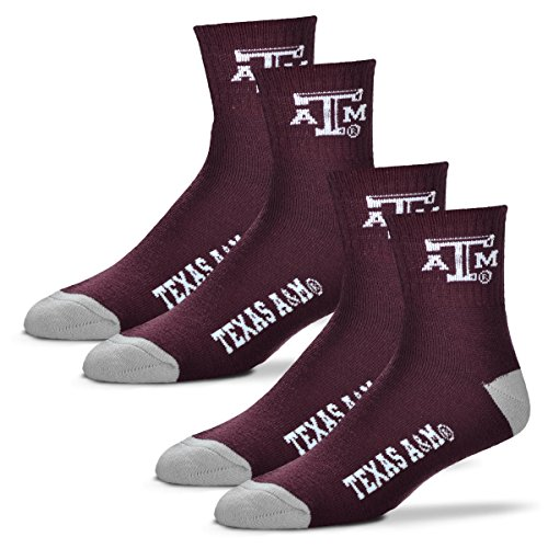 (For Bare Feet Men's Quarter Socks-Texas A&M Aggies-Large-Maroon-2 Pack)