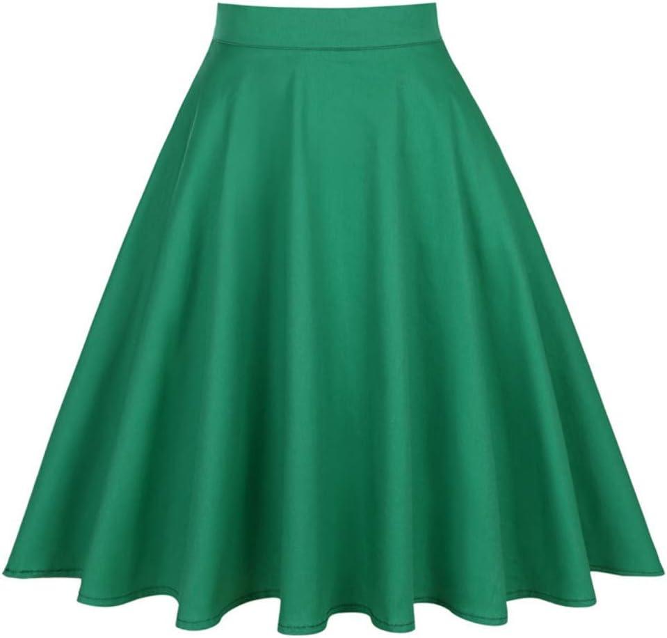 HEHEAB Falda,Impresión Verde Floral Faldas Midi Verano Womens ...