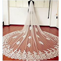 EllieHouse Women's Custom Made Long 2 Tier Wedding Bridal Veil With Comb Ivory E69IV