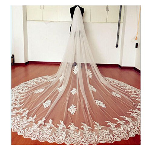 EllieHouse Women's Custom Made Long 2 Tier Wedding Bridal Veil With Comb White E69
