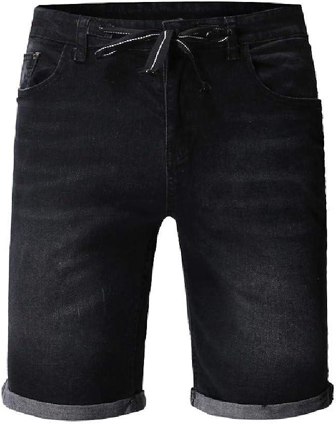 Tootess Men Denim Slim-Fit Ombre Pockets Drawstring Wash Denim Short Trousers