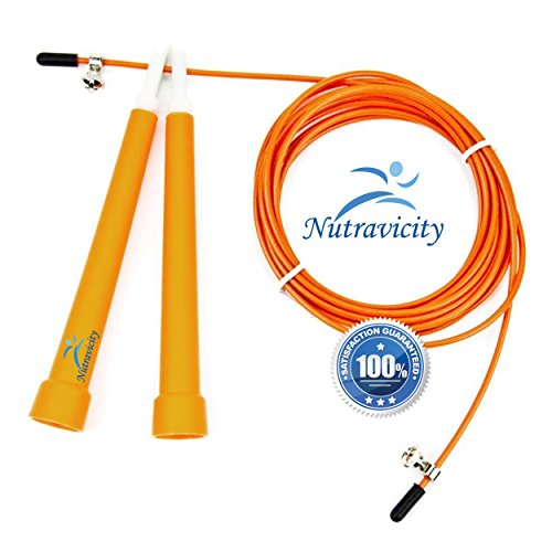Nutravicity Jump Rope Speed Cable Adjustable Best for CrossFit Training, Boxing, MMA, Double Unders, Exercise and Fitness