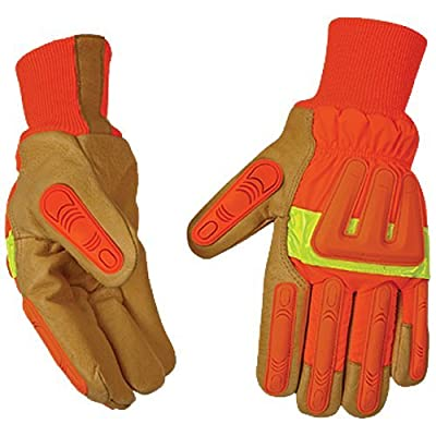 FIRM GRIP Mens High Visibility Pigskin Gloves w/Impact Protection (Large)