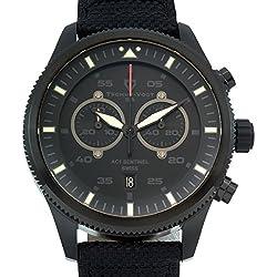 Tschuy-Vogt AC1 Sentinel - Men's Swiss quartz watch, Military inspired design, Sapphire, Superluminova, nylon strap with leather reinforcement