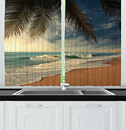 Ambesonne Beach Kitchen Curtains By Tropical Seashore In Sri Lanka Exotic Asian Coastline Palm Trees