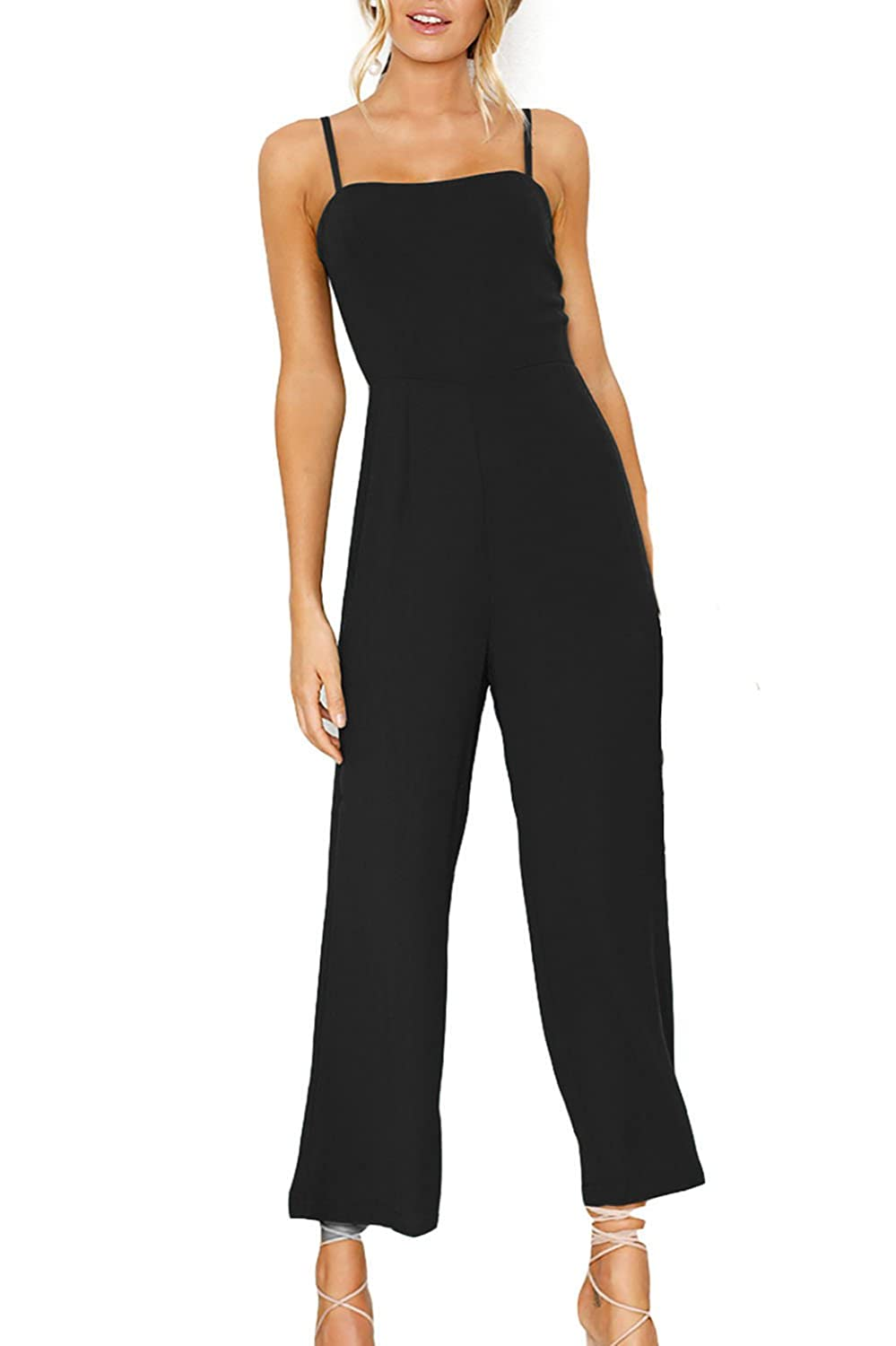 Alelly Women's Solid Color Backless Sleeveless Wide Long Pants Jumpsuit Rompers