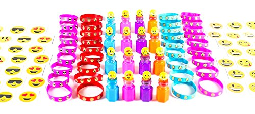 Neliblu 84 Pc Emoji Party Supplies Emoticon Smile Toy Novelty Party Favor Set; Easter Egg Toys, Pinata Filler, 24 Bubble Bottles; 24 Silicone Emoji Bracelets; 36 Emoji Smile Temporary Tattoos ()