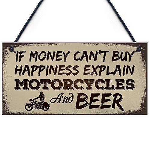 "LWF Beer Motorcycle Enthusiast Motorbike Man Cave Sign Garage Vintage Dad Grandad Gift for Him 10"" X 5"""