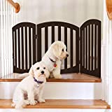 Arf Pets Free Standing Wood Dog Gate, Step Over Pet Fence, Foldable, Adjustable - Espresso