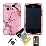 4 items Combo: ITUFFY (TM) LCD Screen Protector Film + Mini Stylus Pen + Case Opener + Silver Pink Pine Tree Leaves Camouflage Wildlife Outdoor Design Rubberized Snap on Hard Shell Cover Faceplate Skin Phone Case for KYOCERA RISE C5155 (SPRINT / VIRGIN MOBILE)