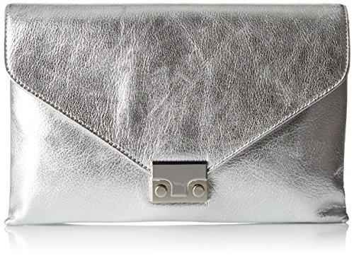 LOEFFLER RANDALL Lock Clutch (Metallic Leather), Silver