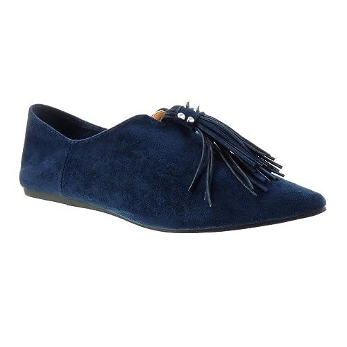 Angkorly - Zapatillas de Moda Mocasines slip-on mujer fleco tachonado Talón tacón plano 1 CM: Amazon.es: Zapatos y complementos